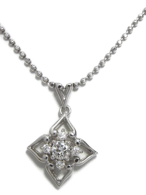【星の砂】ホシノスナ『PT900/PT850ネックレス ダイヤモンド0.34ct フラワーモチーフ』1週間保証【中古】