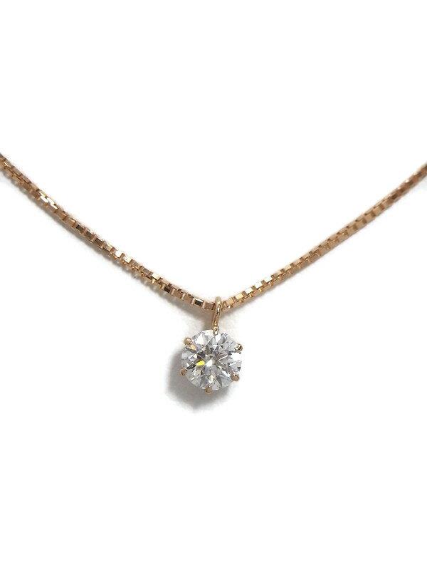 【鑑定書】セレクトジュエリー『K18PGネックレス 1Pダイヤモンド0.312ct/G/SI-2/EXCELLENT』1週間保証【中古】