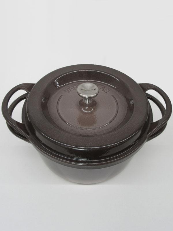【Vermicular】バーミキュラ『オーブンポットラウンド22cm』BRN22R パールブラウン 3.5L 鋳物ホーロー鍋 無水鍋【中古】