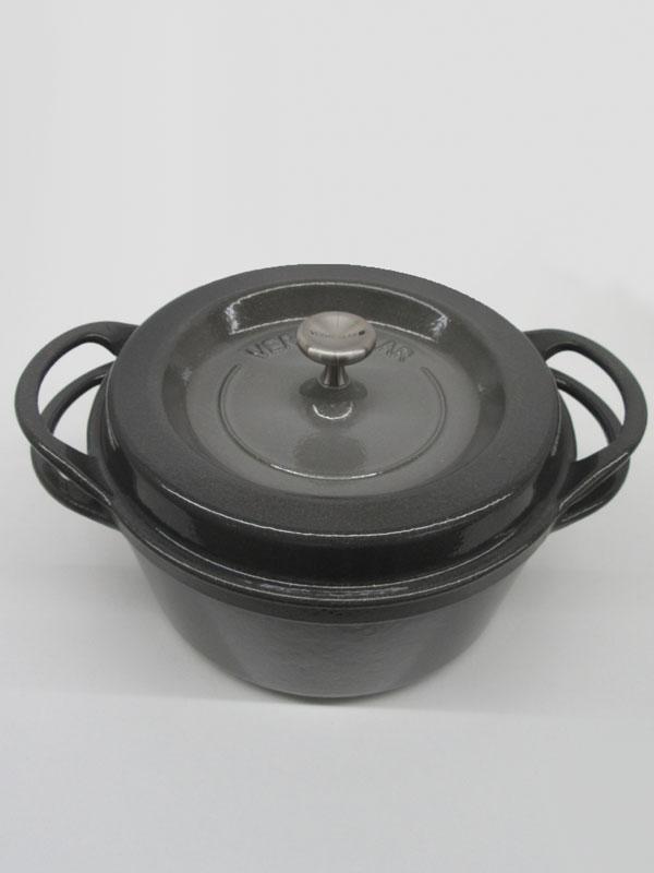 【Vermicular】バーミキュラ『オーブンポットラウンド22cm』GRY22R パールグレー 3.5L 鋳物ホーロー鍋 無水鍋【中古】