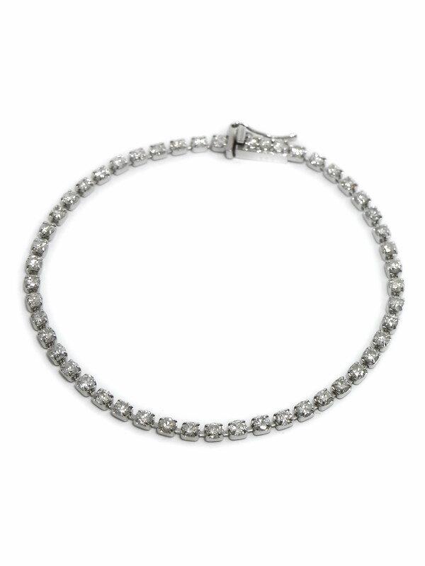【仕上済】セレクトジュエリー『K18WGブレスレット ダイヤモンド2.53ct テニスブレス』1週間保証【中古】