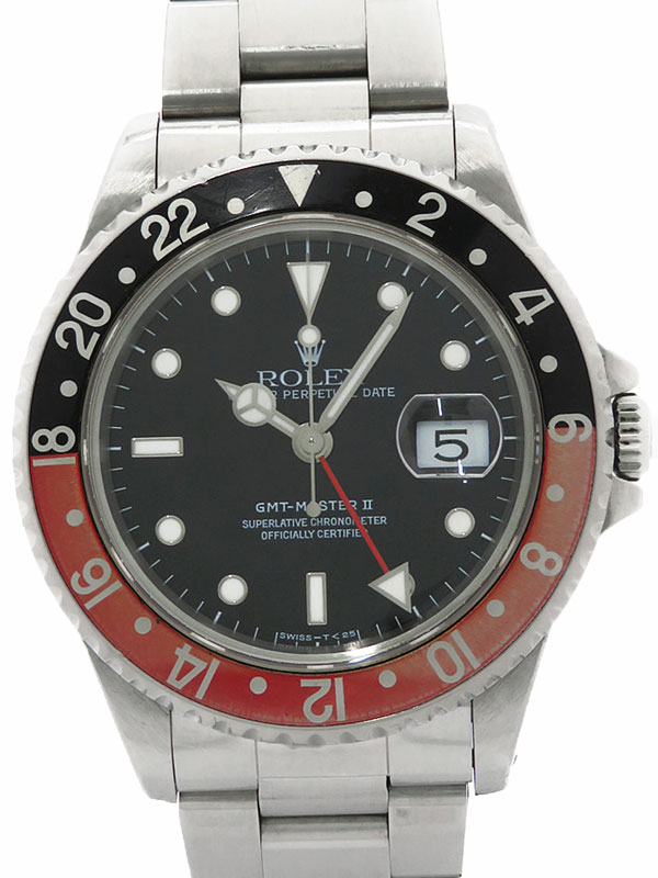 【ROLEX】【OH済】ロレックス『GMTマスター2 赤×黒ベゼル』16710 T番'96年頃製 メンズ 自動巻き 12ヶ月保証【中古】