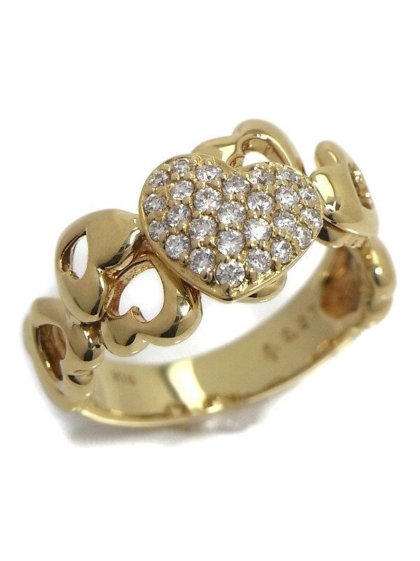 【Ponte Vecchio】ポンテヴェキオ『K18YGリング ダイヤモンド0.27ct ハートデザイン』9号 1週間保証【中古】