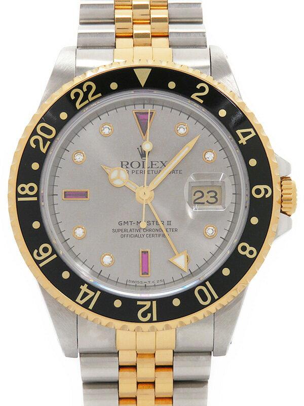 【ROLEX】【'16年日ロレOH済】ロレックス『GMTマスター2 8Pダイヤ&3Pルビー』16713RG P番'00年頃製 メンズ 自動巻き 12ヶ月保証【中古】