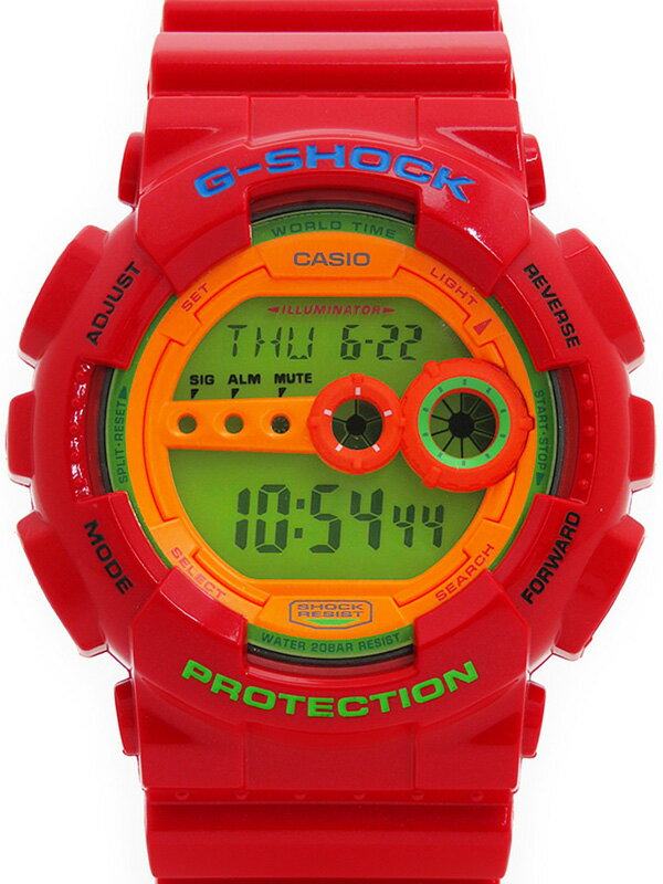 【CASIO】【G-SHOCK】カシオ『Gショック ハイパーカラーズ』GD-100HC-4DR メンズ クォーツ 1週間保証【中古】