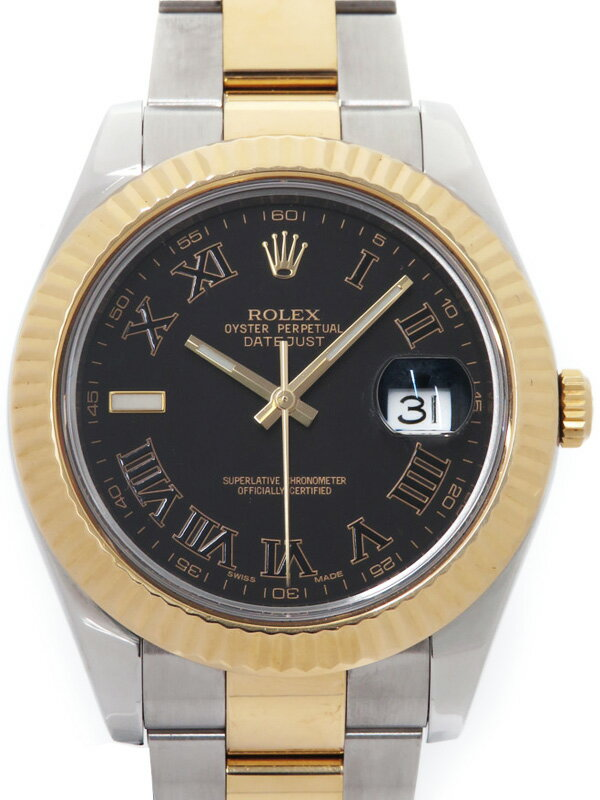 【ROLEX】【ブラックローマン】【'14年購入】ロレックス『デイトジャスト2』116333 ランダム番 メンズ 自動巻き 12ヶ月保証【中古】