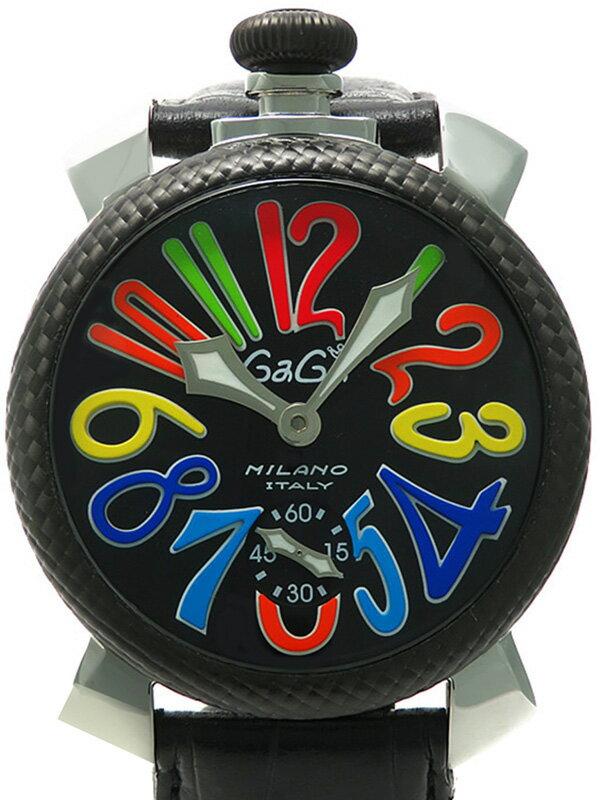 【GaGa MILANO】【裏スケ】ガガミラノ『マヌアーレ 48mm』5015.1 メンズ 手巻き 1ヶ月保証【中古】