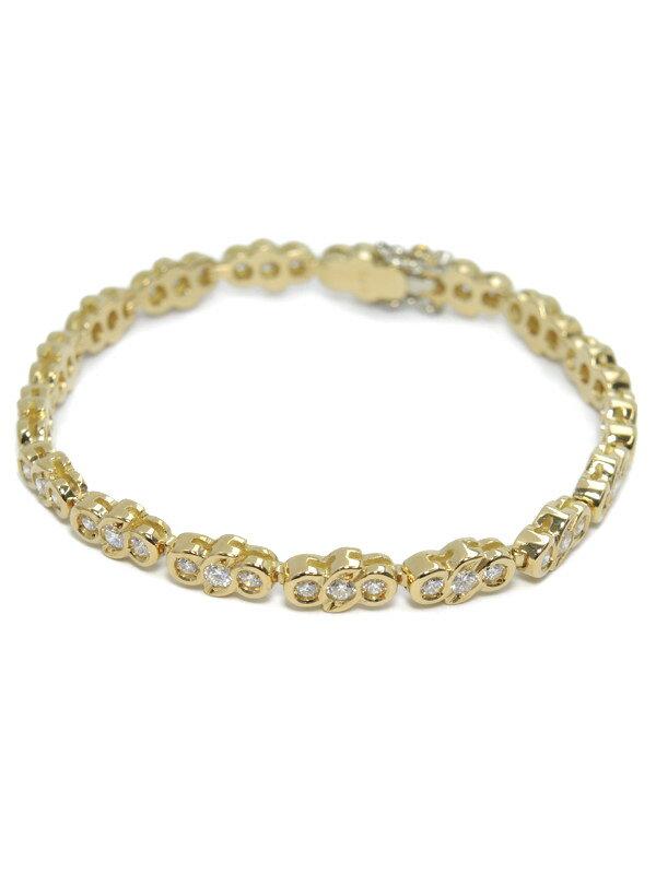 【仕上済】セレクトジュエリー『K18YGブレスレット ダイヤモンド2.13ct テニスブレス』1週間保証【中古】