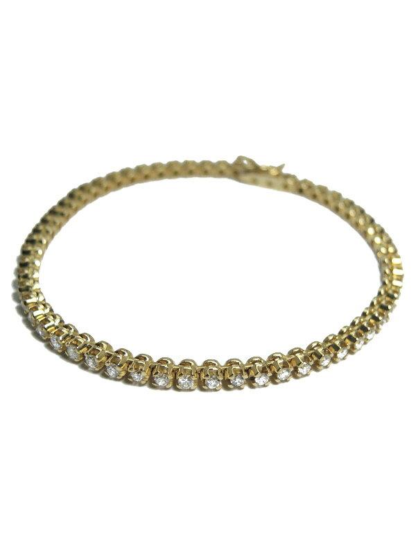【仕上済】セレクトジュエリー『K18YGブレスレット ダイヤモンド2.00ct テニスブレス』1週間保証【中古】
