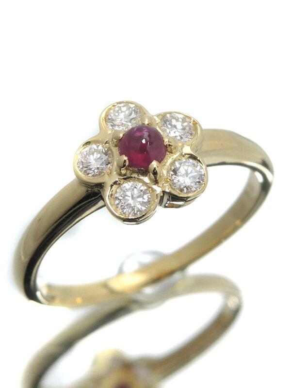 【Christian Dior】【仕上済】クリスチャンディオール『K18YGリング ルビー ダイヤモンド フラワーモチーフ』11号 1週間保証【中古】