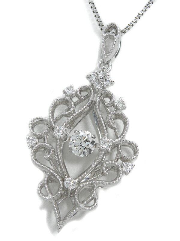 【仕上済】セレクトジュエリー『K18WGネックレス ダイヤモンド0.234ct 0.15ct』1週間保証【中古】