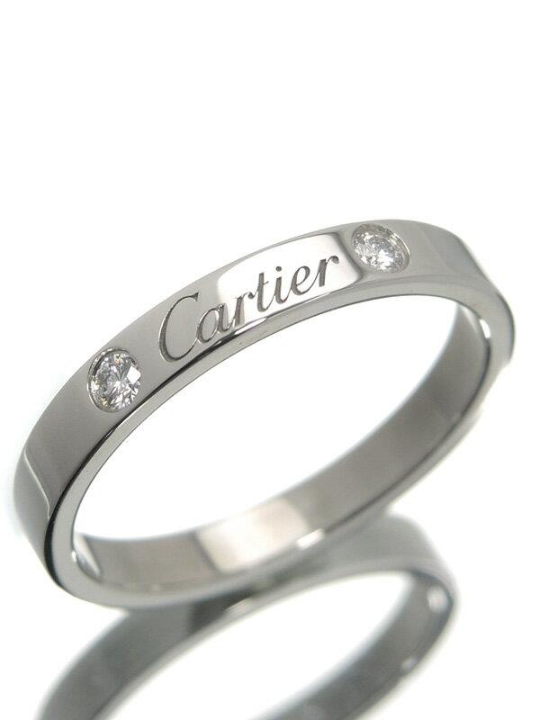 【Cartier】【仕上済】カルティエ『エングレーブド リング 2Pダイヤ』17.5号 1週間保証【中古】