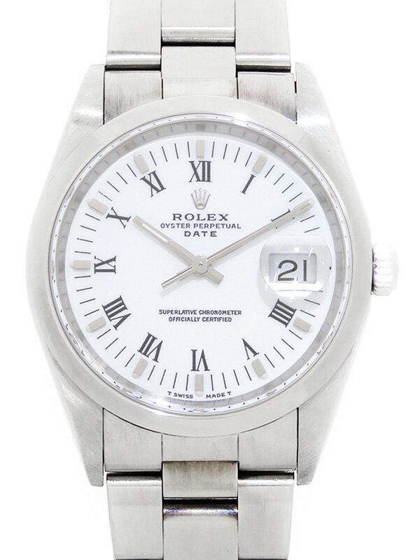 【ROLEX】【ホワイトローマン】ロレックス『オイスターパーペチュアルデイト』15200 U番'97年頃製 メンズ 自動巻き 12ヶ月保証【中古】