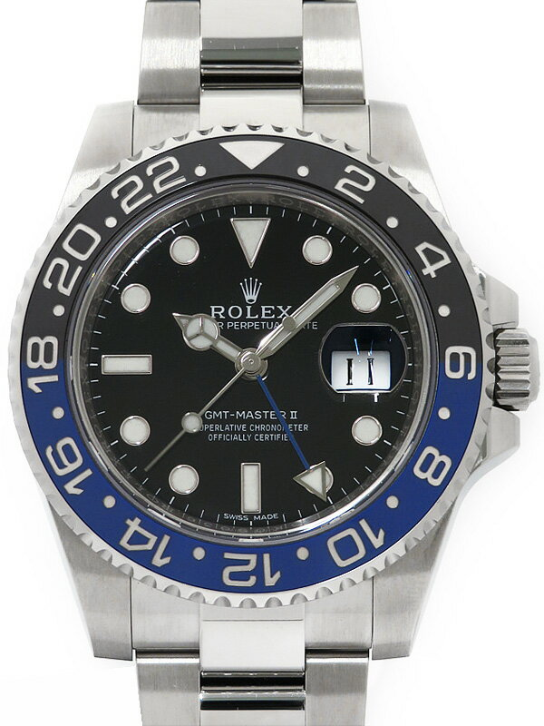 【ROLEX】【'16年購入】【美品】ロレックス『GMTマスター2 青×黒ベゼル』116710BLNR ランダム番 メンズ 自動巻き 12ヶ月保証【中古】