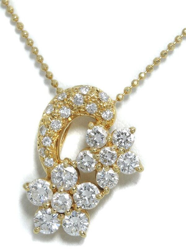 【TASAKI】【チェーン社外品】タサキ『K18YGネックレス ダイヤモンド1.15ct フラワーモチーフ』1週間保証【中古】