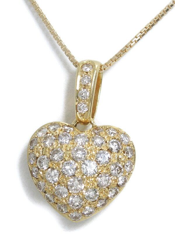 【パヴェダイヤ】セレクトジュエリー『K18YGネックレス ダイヤモンド1.69ct ハートモチーフ』1週間保証【中古】