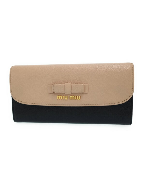 【MIU MIU】【バイカラー】ミュウミュウ『マドラス リボン 二つ折り長財布』5MH379 レディース 1週間保証【中古】