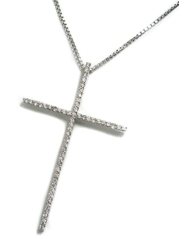 【仕上済】セレクトジュエリー『K18WGネックレス ダイヤモンド0.50ct クロスモチーフ』1週間保証【中古】