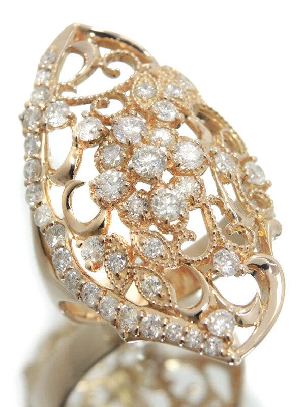 【仕上済】セレクトジュエリー『K18PGリング ダイヤモンド1.03ct フラワーデザイン』8.5号 1週間保証【中古】