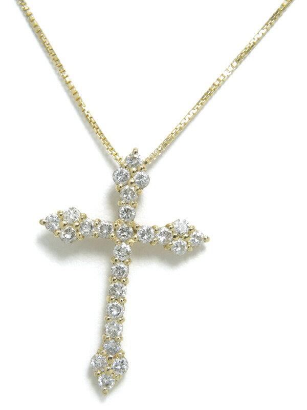 セレクトジュエリー『K18YGネックレス ダイヤモンド1.00ct クロスモチーフ』1週間保証【中古】