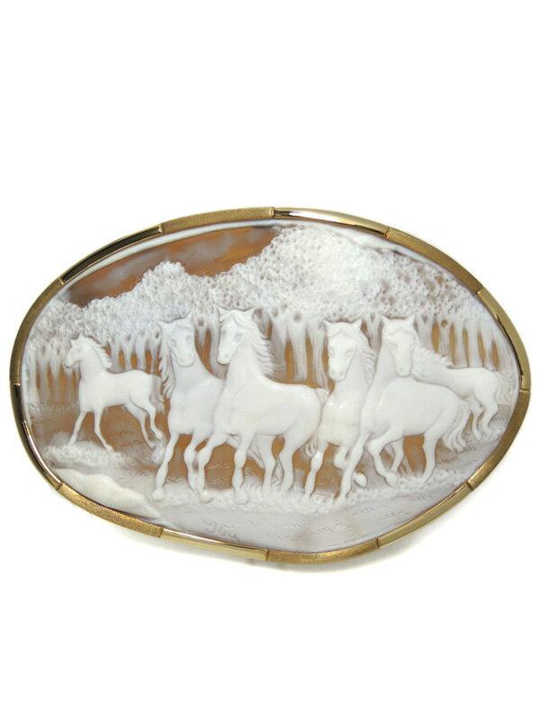 【2Way】【馬】セレクトジュエリー『K18YGブローチ/ペンダントトップ カメオ』1週間保証【中古】