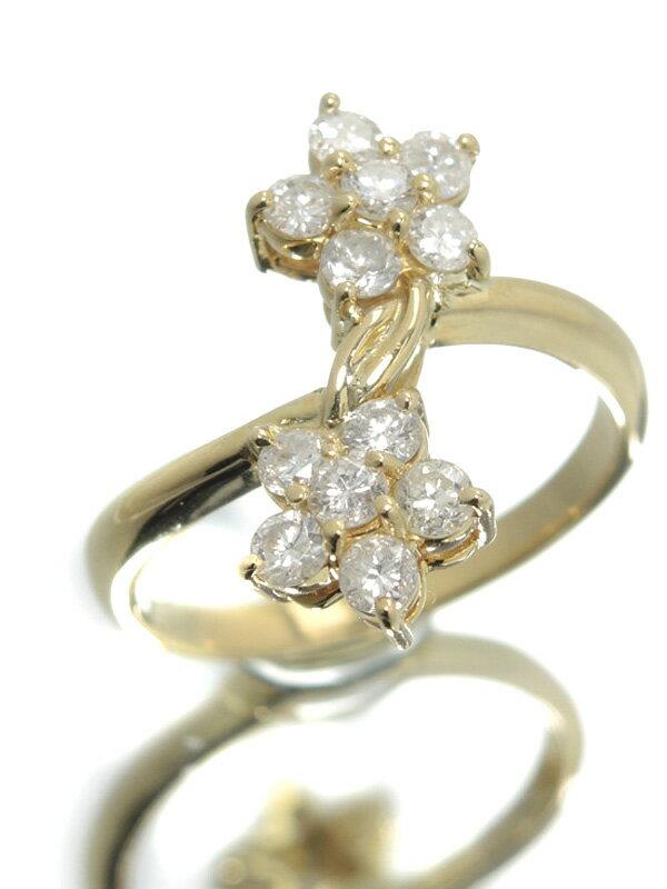 セレクトジュエリー『K18YGリング ダイヤモンド0.51ct フラワーモチーフ』10号 1週間保証【中古】
