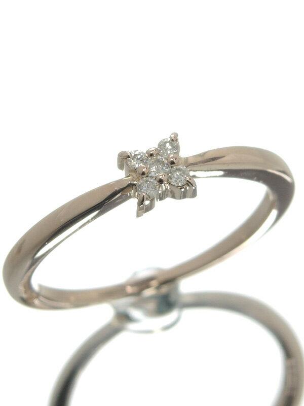セレクトジュエリー『K18PGリング ダイヤモンド フラワーデザイン』13号 1週間保証【中古】