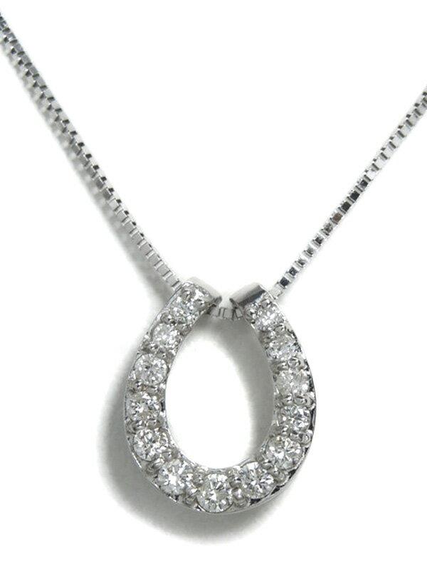 【馬蹄】セレクトジュエリー『K18WG ネックレス ダイヤモンド0.20ct ホースシューモチーフ』1週間保証【中古】