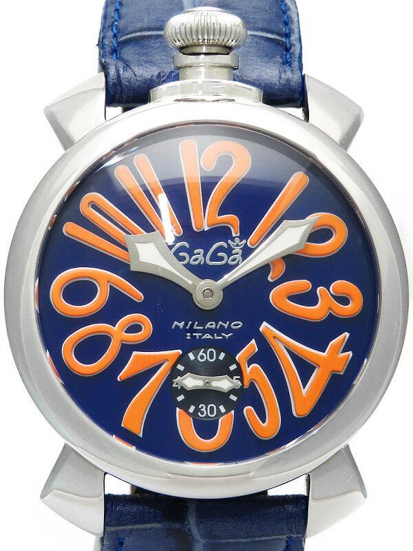 【GaGa MILANO】【裏スケ】ガガミラノ『マヌアーレ 48mm』5010.08S メンズ 手巻き 1ヶ月保証【中古】
