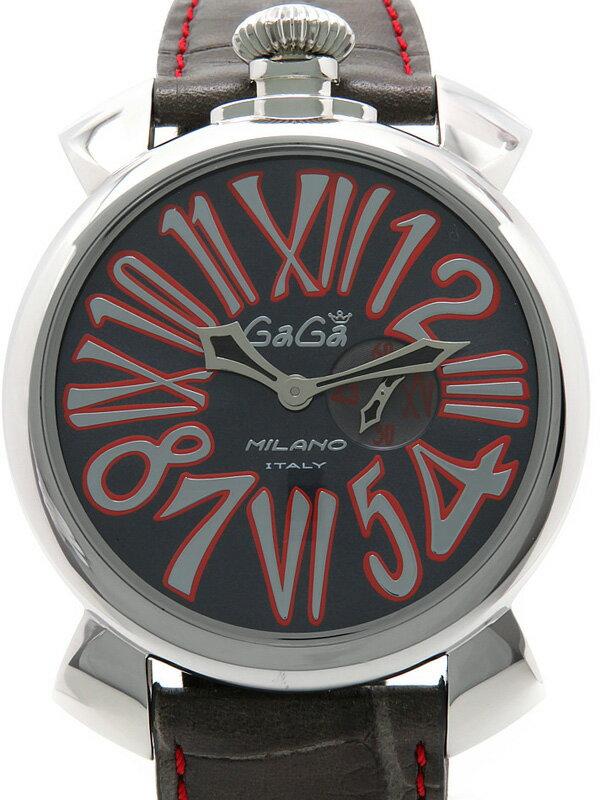 【GaGa MILANO】ガガミラノ『マヌアーレスリム 46mm』5084.2 メンズ クォーツ 1週間保証【中古】