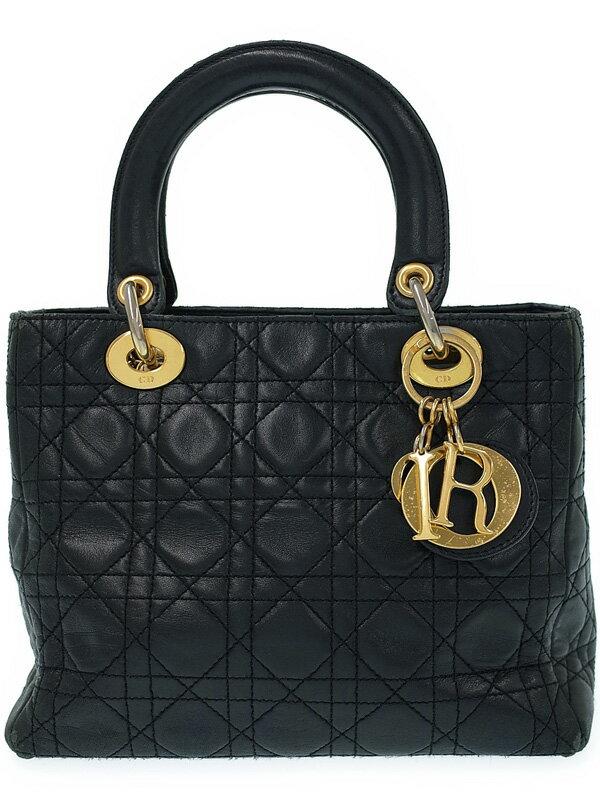 【Dior】【カナージュ】クリスチャンディオール『レディディオール(M)』レディース ハンドバッグ 1週間保証【中古】