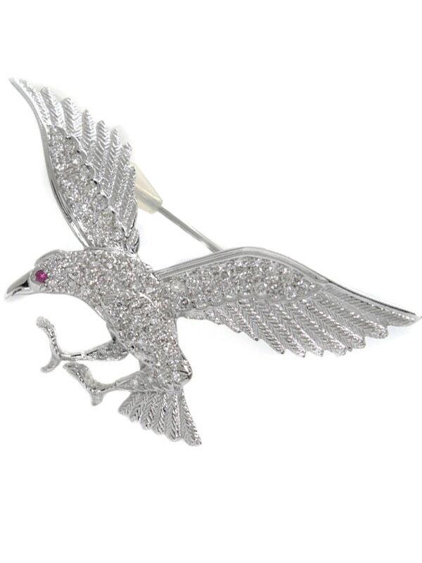 セレクトジュエリー『K18WG ブローチ ルビー0.02ct ダイヤモンド0.66ct 鳥モチーフ』1週間保証【中古】