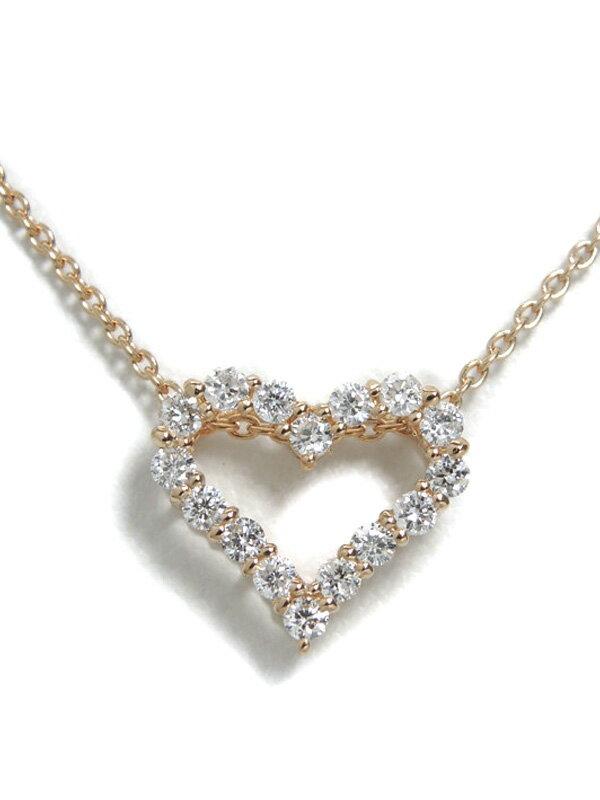 【仕上済】セレクトジュエリー『K18PGネックレス ダイヤモンド0.20ct ハートモチーフ』1週間保証【中古】