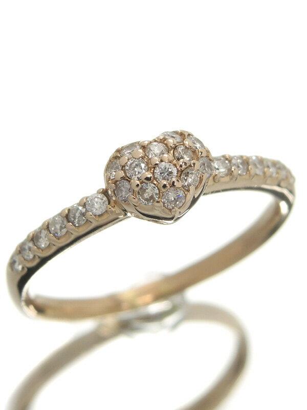 【パヴェダイヤ】セレクトジュエリー『K18PGリング ダイヤモンド0.23ct ハートモチーフ』10号 1週間保証【中古】