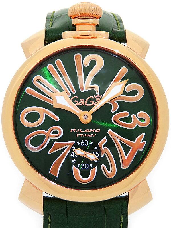 【GaGa MILANO】【裏スケ】ガガミラノ『マヌアーレ 48mm』5011.4 メンズ 手巻き 1ヶ月保証【中古】