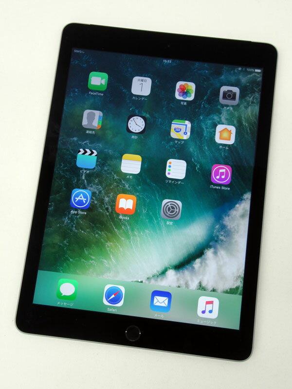 アップル『iPad Air 2 Wi-Fi + Cellular 16GB  au』MGGX2J/A スペースグレイ ○判定 タブレット【中古】