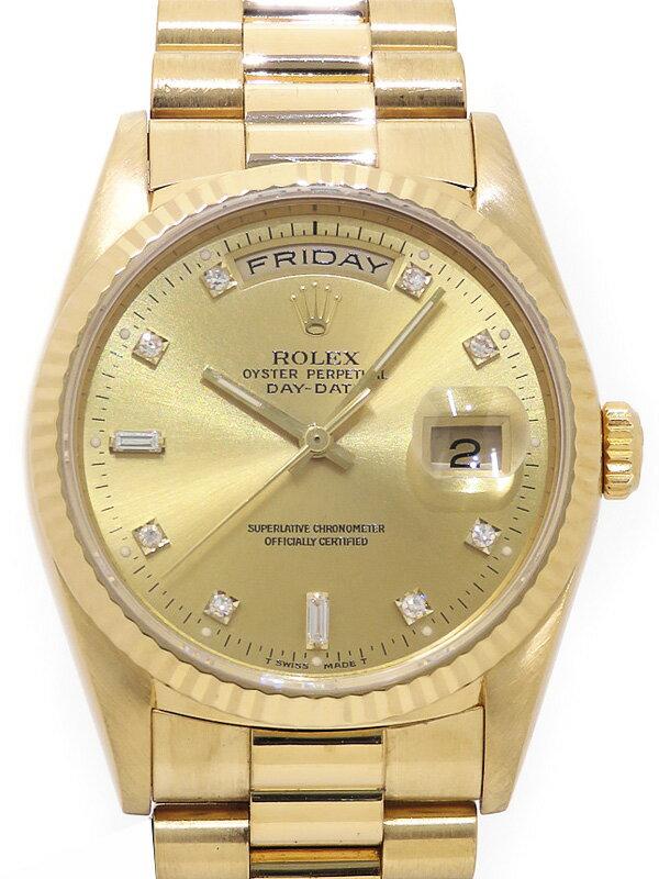 【ROLEX】ロレックス『デイデイト 10Pダイヤ』18238A L番'89年頃製 メンズ 自動巻き 12ヶ月保証【中古】