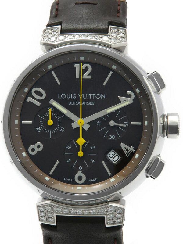 【LOUIS VUITTON】ルイヴィトン『タンブール クロノグラフ ラグダイヤ』Q112G メンズ 自動巻き 3ヶ月保証【中古】