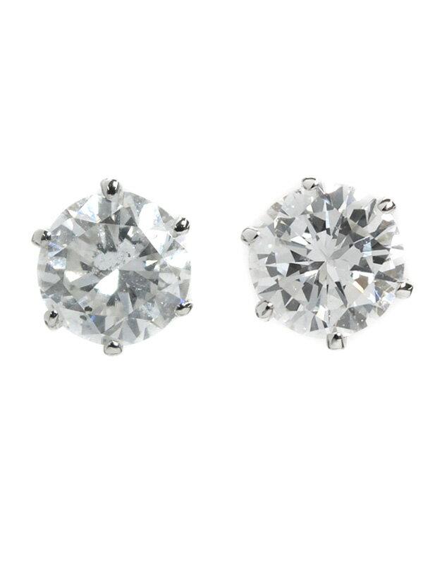 【ソーティング】セレクトジュエリー『PT900ピアス ダイヤモンド0.434ct/F/SI-1/GOOD 0.465ct/F/I-1/GOOD』1週間保証【中古】