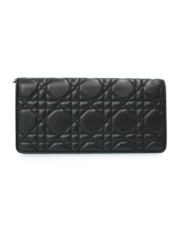 【Christian Dior】【カナージュ】クリスチャンディオール『レディディオール 二つ折り長財布』レディース 1週間保証【中古】
