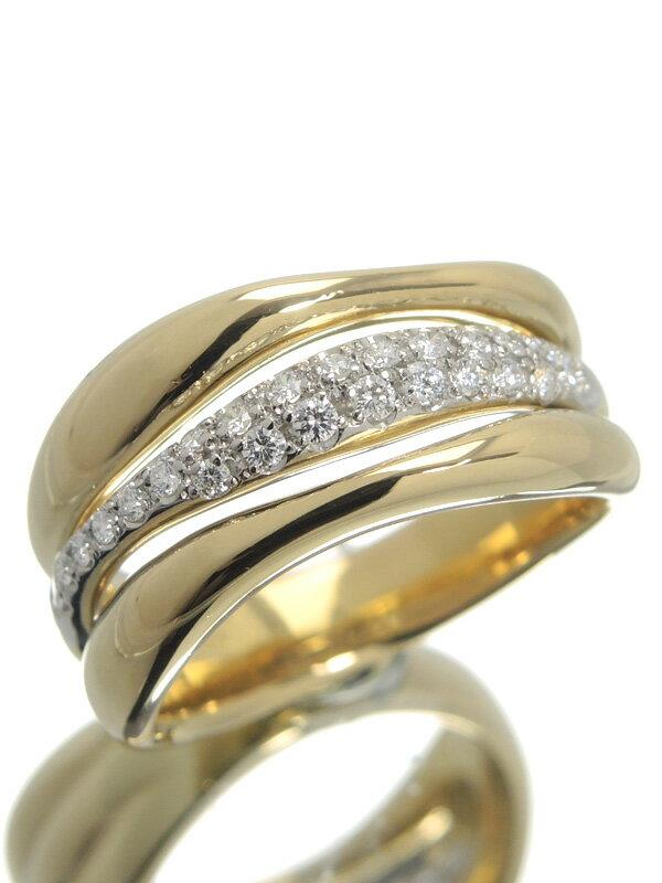 【星の砂】ホシノスナ『K18YG/PT900リング ダイヤモンド0.24ct』13号 1週間保証【中古】