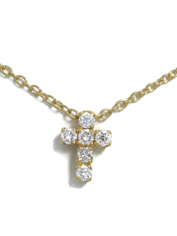 【Ponte Vecchio】ポンテヴェキオ『K18YGネックレス ダイヤモンド0.12ct クロスモチーフ』1週間保証【中古】