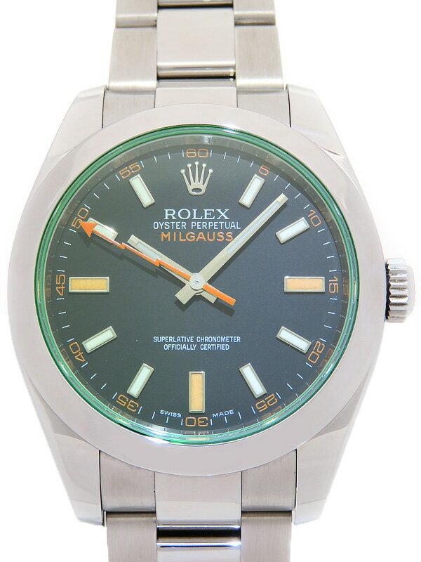 【ROLEX】ロレックス『ミルガウス グリーンガラス』116400GV V番'09年頃製 メンズ 自動巻き 12ヶ月保証【中古】