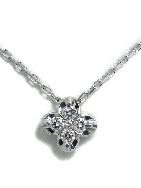 セレクトジュエリー『K18WGネックレス ダイヤモンド0.05ct フラワーモチーフ』1週間保証【中古】