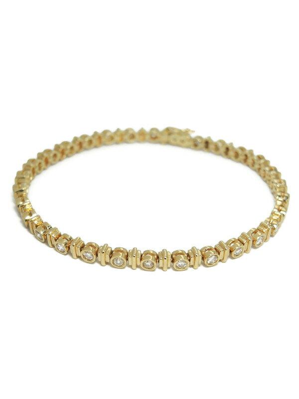 【仕上済】セレクトジュエリー『K18YGブレスレット ダイヤモンド1.05ct テニスブレス』1週間保証【中古】