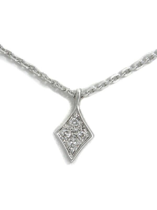 セレクトジュエリー『K18WGネックレス ダイヤモンド0.02ct ひし形モチーフ』1週間保証【中古】