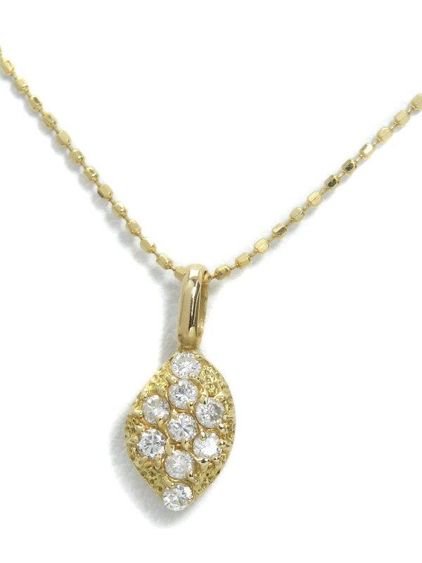 【パヴェダイヤ】【仕上済】セレクトジュエリー『K18YGネックレス ダイヤモンド0.20ct』1週間保証【中古】