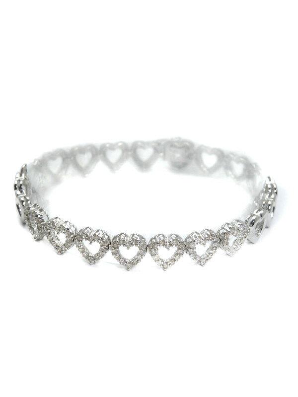 セレクトジュエリー『K18WGブレスレット ダイヤモンド1.02ct ハートモチーフ』1週間保証【中古】