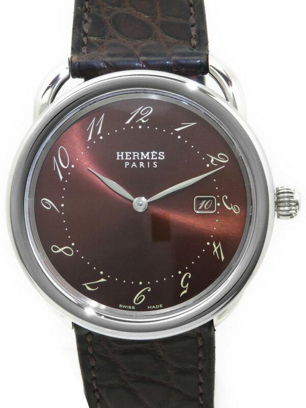 【HERMES】【電池交換済】エルメス『アルソー』AR5.710 メンズ クォーツ 1ヶ月保証【中古】