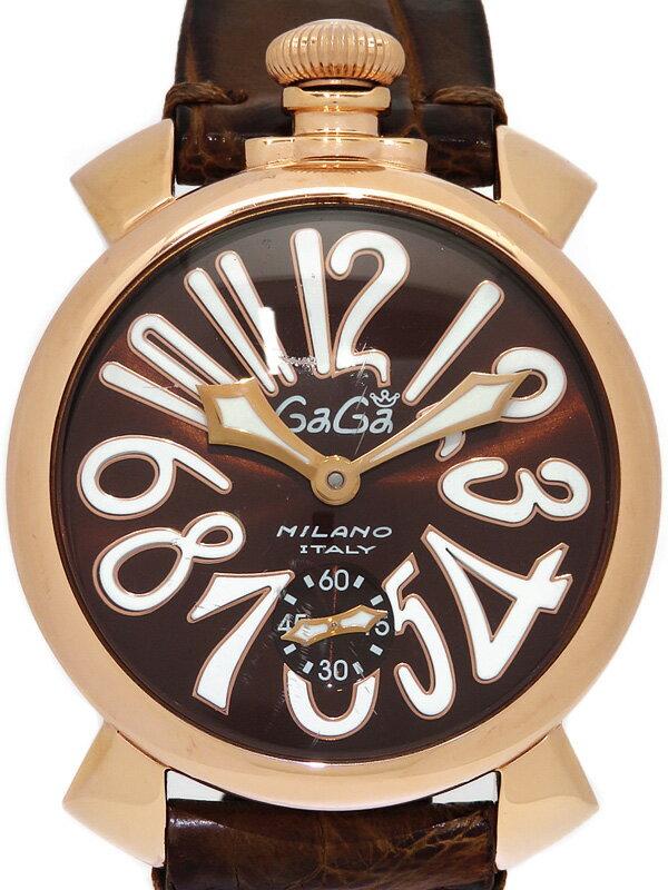 【GaGa MILANO】【裏スケ】ガガミラノ『マヌアーレ 48mm』5011.1 メンズ 手巻き 1ヶ月保証【中古】